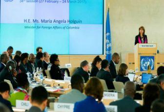 'La paz ya tiene resultados palpables': canciller Holguín en la ONU