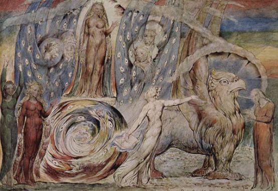 Beatrice encuentra al Dante, por William Blake