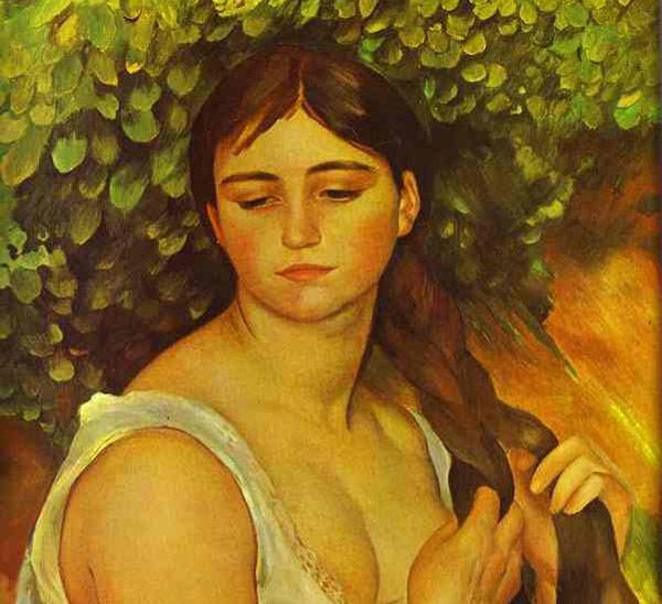 Chica que trenza su pelo Renoir