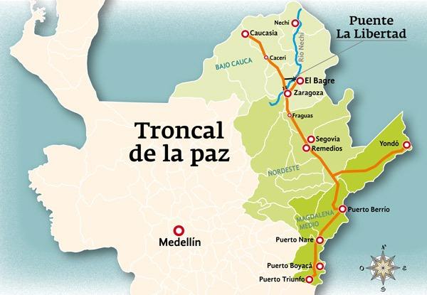 La Troncal de la Paz entre Puerto Triunfo y Caucasia y su conexión a El Bagre.