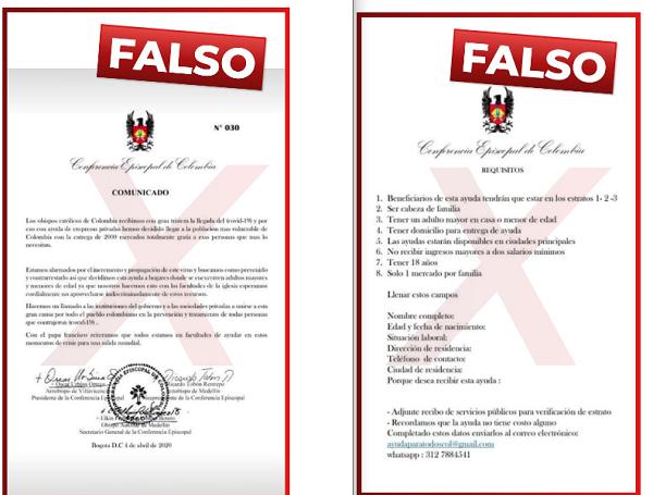 falso comunicado de la Conferencia Episcopal de Colombia