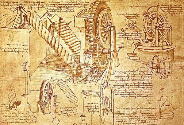 Inventos explicados en dibujo de Da Vinci