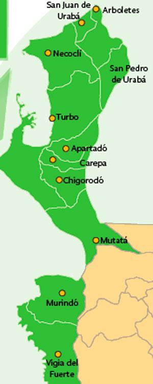 Mapa de Urabá