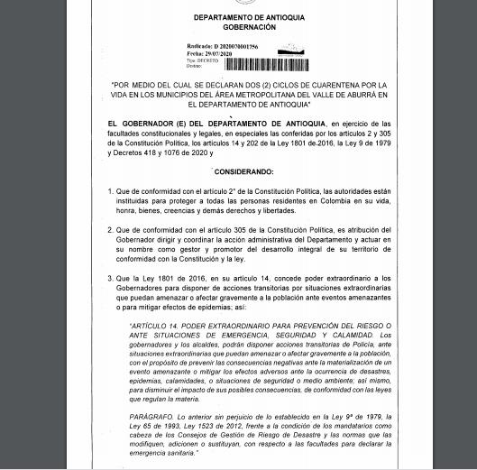 decreto 1756 nueva cuarentena por la vida 31 de julio y 8 de agosto