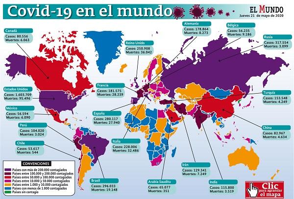 5'138.154 casos y 331.525 muertes acumula hoy el mundo por covid-19