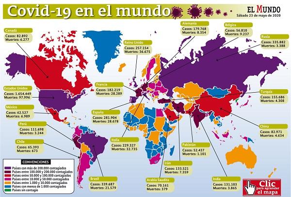 5'365.007 casos y 342.023 muertes por covid-19 acumula el mundo