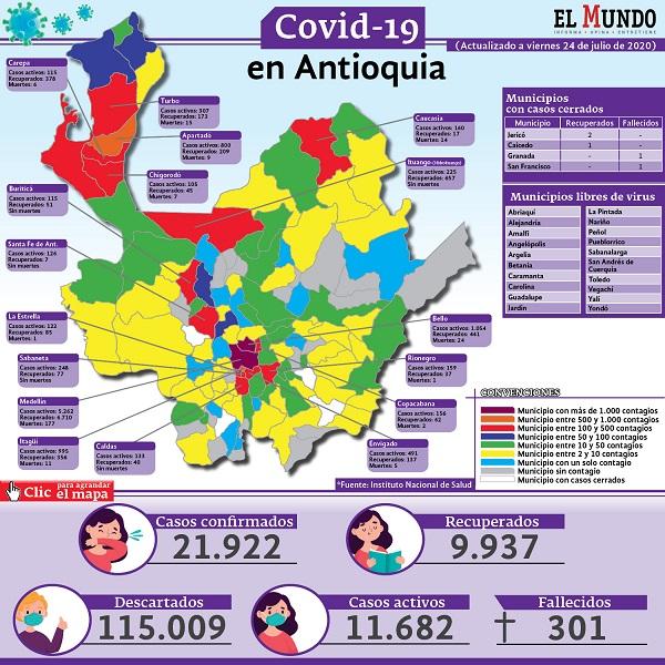 mapa covid-19 Antioquia 24 julio
