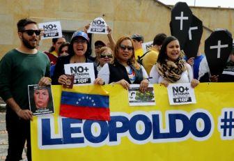 Decenas de venezolanos piden en Colombia la libertad de Leopoldo López